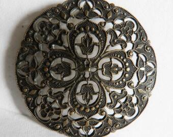 Edwardian Button Brass Filigree