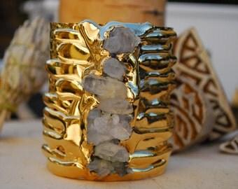 GOLD MELT CUFF  /// Crystal Gemstone Cuff /// 24kt Gold Electroformed