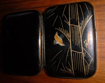 Antique Inlaid MATCH Box with Bird Bamboo