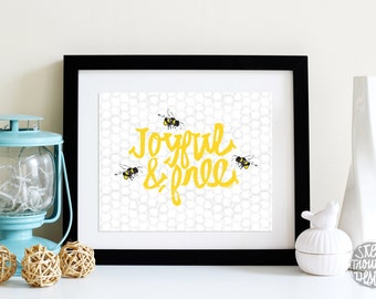 Above the Crib Decor JOYFUL & Free Bumble Bees YELLOW Black and white Honeycomb pattern INSTANT download 5x7 and 8x10 Digital Art Print