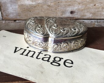 Vintage Double Heart Metal Jewelry or Trinket Box