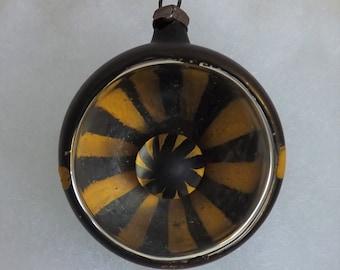 "Antique German ornament glass ornament headlight indent ornament pinwheel reflector dark bronze ""black"" and yellow hand painted"
