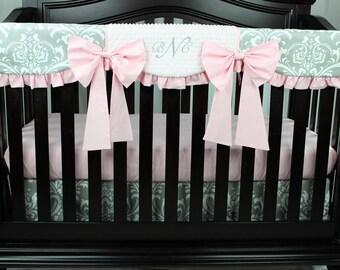 Gray Damask Bumperless Baby Girl Set