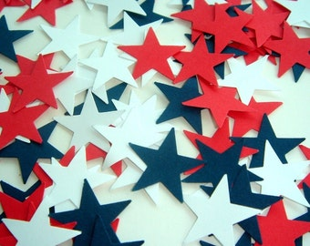 100 Pieces of Star Spangled Hand Punched Confetti - Perfect for Weddings, Showers, and Anniversaries available in your choice of colors
