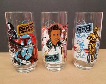 Set of 3 Vintage Star Wars Empire Strikes Back Glasses