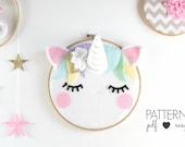 Unicorn Nursery Art Pattern - Scandinavian Nursery Decor - Boho Unicorn Sewing Pattern - Sleepy Eyes - Felt Pattern - Unicorn Decor