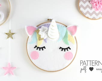 Unicorn Nursery Art Pattern, Unicorn Sewing Pattern, Unicorn Taxidermy, Sleepy Eyes, Felt Pattern, Unicorn Decor, Unicorn Art