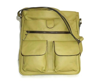 "Mustard Yellow Leather Messenger Bag, Leather Crossbody Bag, Leather Handbag, Leather Messenger, Leather Bag, Iris fits 11"" laptop & ipad"
