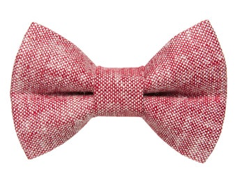 "Cat Bow Tie - ""The Team Leader"" - Red Linen"
