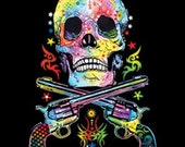 Skull and Guns ADULT UNISEX T Shirt Neon Blacklight Fluorescent 19052NBT2
