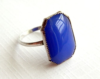 Vintage Art Deco Corn Flower Blue Sterling Silver Ring - SIGNED - Size 7.5
