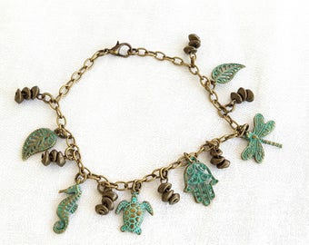 Verdigris Charm Bracelet Green Gold Brown Nature Seahorse Turtle Dragonfly Hamsa