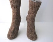 Extra Thick Exotic CAMEL WOOL Hand Knit SOCKS in Natural Brown / Cabin Wedding/ Meaningful gift / Cabin Camping Socks/