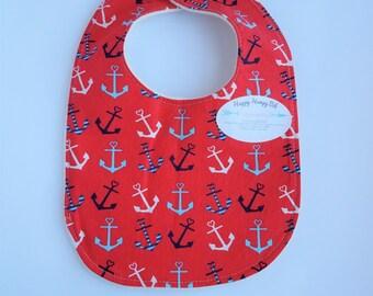 Happy Hempy, organic cotton fleece backed baby bib, super absorbent nautical anchors