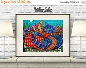 50% Off Today- 2 Cats Art Poster Print of Painting by Heather Galler (HG101)Digital File