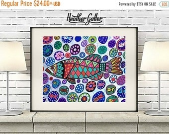 50% Off Today- FISH Folk art Poster Print of  Painting  by Heather Galler Floral Goldfish Flowers (HG425)