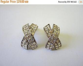 On Sale Vintage 60s X rhinestone Earrings. Clip-ons