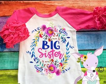 Big Sister Floral Ruffle Sleeve Raglan Big Sister to be Shirt Promoted to Big Sister Shirt Big Sister Gift Big Sister Floral Ruffle Raglan
