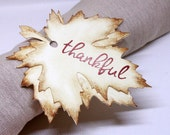 Thanksgiving Tags (Double Layered) - Vintage Inspired Fall Leaf Tags - Thankful - Napkin Tags - Thanksgiving Napkin Rings (Set of 8)