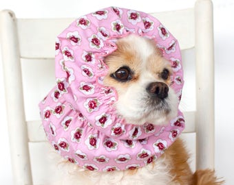 Cottage Chic Roses Dog Snood, Cotton Long Ear Coverup, Cavalier King Charles or Cocker Snood, 3 row stitching