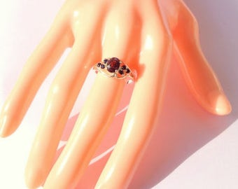 Size 6.75, Raspberry Spinel, Blue Sapphire Ring, Edwardian Style, Sterling Silver, Filigree Ring, Natural Gemstones, OOAK