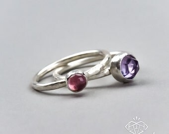 Birthstone Ring — Birth Month Ring — Mom Ring — Mom Jewelry — Stacking Gemstone Ring — Silver Gemstone Ring — Hammered Rustic Sterling Ring