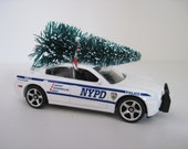 NYPD DODGE CHARGER Pursuit Police Car - Matchbox - Christmas Ornament, Christmas Village - Tree Tied to Top