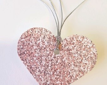 Faux Glitter, Dusty Rose-Gold Gift Tags - Heart gift tag - Bridesmaid favors - Scrap booking- Bridal Shower - Gift under 10 - Set of 10