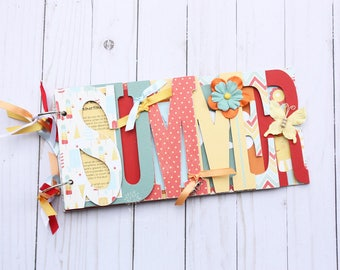 SALE!!- Summer scrapbook, Pre-made scrapbook for family summer memories, chipboard word album, vacation photos, bright -SUM2