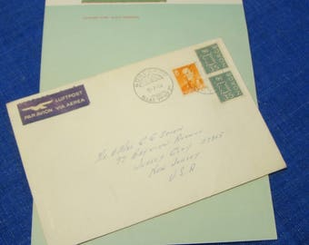 1965 Cunard Line R MS Caronia Stationery and Envelope Cruise Ship Vintage