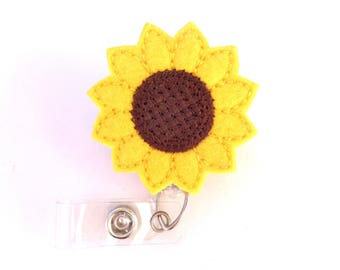 Badge Reel ID Holder Retractable - Sunny Sunflower - yellow and brown felt flower - nurse office staff teacher professionals