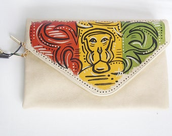 "Tribal Immunity Hand Painted Vegan Leather Beige Lion ""Heights"" 2-in-1 Envelope Clutch Crossbody Handbag"