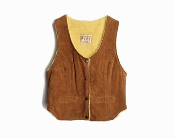 Vintage 70s Suede Leather Vest with Sherpa Lining / Wild West Vest - women's xs/small