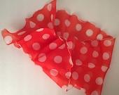 Red White Long Narrow Chiffon Scarf Vintage Polka Dot Oblong Rectangle Ruffled Hem Sash Tie Belt Head Wrap Women