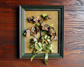 Homemade Fruit Pit Art - Pits, Ribbon and Burlap Floral Art