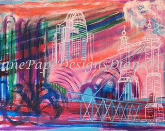 NEW!!! Downtown Cincinnati Blank Note Card - Contemporary, Modern, Stylized, Bold, Bright Jewel Tones, John Roebling Bridge, The Tiara Tower