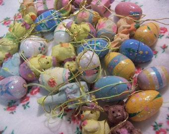 bunch of tiny resin easter ornaments