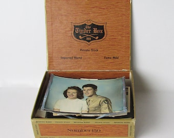Vintage Cigar Box Full of 1940s Treasures - 1940s Memory Box - WWII Era