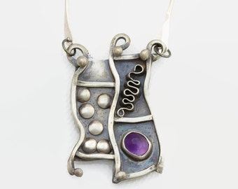 Amethyst Sterling Silver Abstract Artisan Pendant Necklace