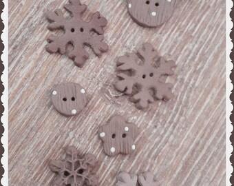 """Handmade Buttons """"Shabby Noel"""""""