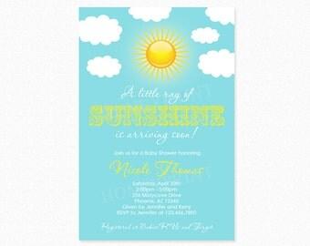 Sunshine Baby Shower Invitation, Gender Neutral Baby Shower Invitation, Personalized, Printable Invitation