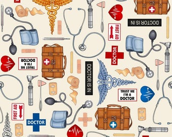 Quilting Treasures What The Dr. Ordered Doctor Toss Ecru fabric - 1 yard