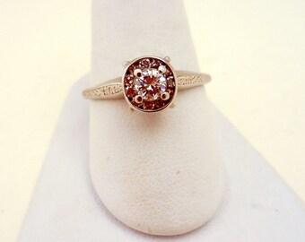 Vintage 14Kt White Gold Diamond Engagement Ring Size 8 3/4