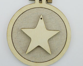 Christmas Star - Laser cut embroidery hoop with quality textile
