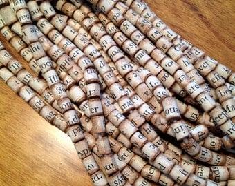 50 Handmade Antiqued Paper Book Beads