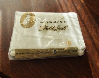 Pure Cotton Flat Sheet Wabasso Vintage New In Package 81 x 100