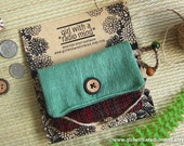 RESERVED LISTING - Coin Purse in Red and Green Texture Design Customized to a Crossbody Bag