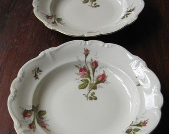 ON SALE Vintage Rosenthal Pompadour Moss Rose Rimmed Soup Bowls Pair Germany Collectible Serving