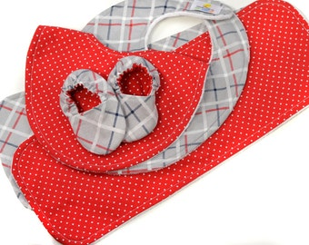 Baby Bundle - Red Dot & Grey Plaid - Great Value, Handmade Baby Gift, New Baby, Baby Boy, Bibs