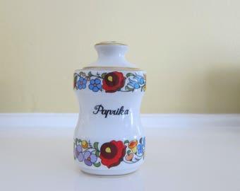 Kalocsa Hungary Handpainted Porcelain Paprika Spice Jar with Lid
